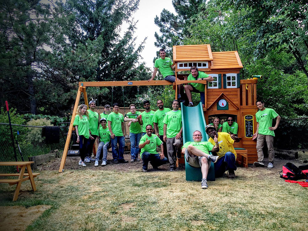 The Canadian team builds a playground for their little hero