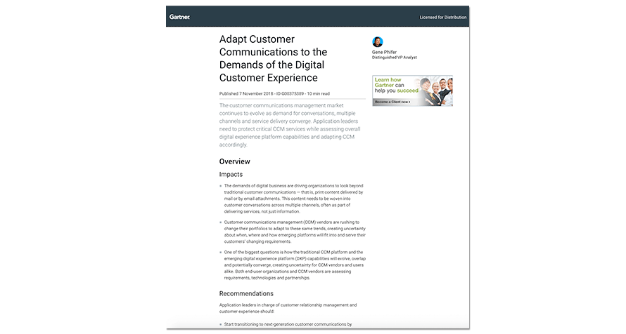 Complimentary Gartner Research: Adapt Customer Communications to the Demands of the Digital Customer Experience, 2018