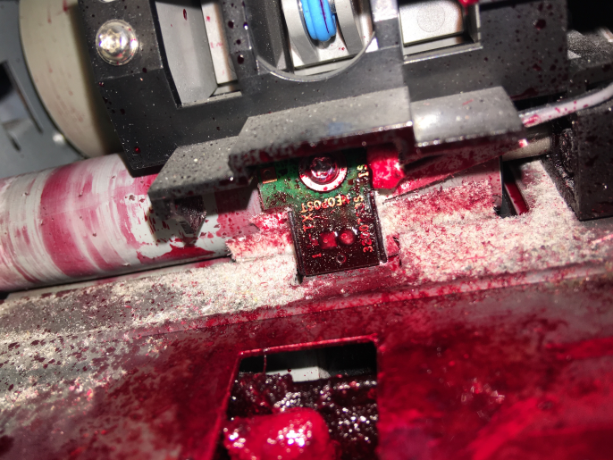 Ink spill in machine