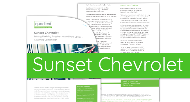 Sunset Chevrolet. Printing Flexibility, Easy Imports And Move Update U2014 A  Winning Combination.